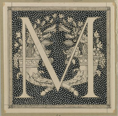 James Tissot (French, 1836-1902). Capital Letter M, 1886-1894. Ink on paper mounted on board, Sheet: 4 5/8 x 4 5/8 in. (11.7 x 11.8 cm). Brooklyn Museum, Purchased by public subscription, 00.159.352.10