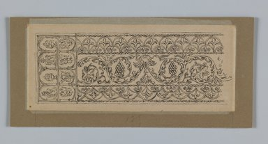 James Tissot (French, 1836-1902). Metal Ornament Taken from the Mosque of Es-Sakra, 1886-1887 or 1889. Ink on paper mounted on board, Mat: 3 9/16 x 7 3/4 in. (9 x 19.7 cm). Brooklyn Museum, Purchased by public subscription, 00.159.355.2