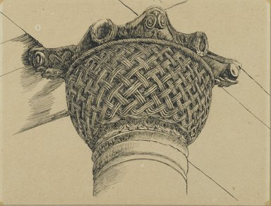 James Tissot (French, 1836-1902). Capital from the Mosque of El-Aksa (Chapiteau de la mosquée d'El Aksa), 1886-1887 or 1889. Ink on paper mounted on board, Sheet: 3 7/8 x 5 3/16 in. (9.8 x 13.1 cm). Brooklyn Museum, Purchased by public subscription, 00.159.356.1