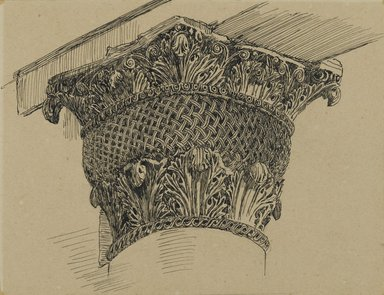 James Tissot (French, 1836-1902). Capital from the Mosque of El-Aksa (Chapiteau de la mosquée d'El Aksa), 1886-1887 or 1889. Ink on paper mounted on board, Sheet: 3 7/8 x 5 1/8 in. (9.8 x 13 cm). Brooklyn Museum, Purchased by public subscription, 00.159.356.2