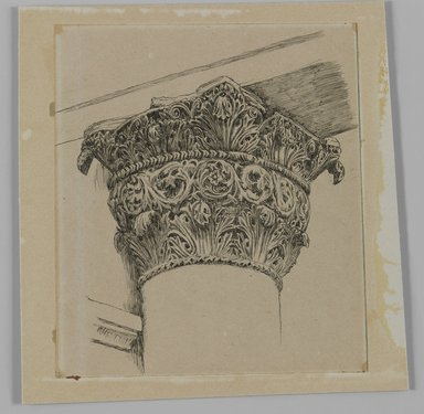 James Tissot (French, 1836-1902). Capital from the Mosque of El-Aksa (Chapiteau de la mosquée d'El Aksa), 1886-1887 or 1889. Ink on paper mounted on board, Sheet: 4 3/4 x 4 5/16 in. (12.1 x 11 cm). Brooklyn Museum, Purchased by public subscription, 00.159.356.3