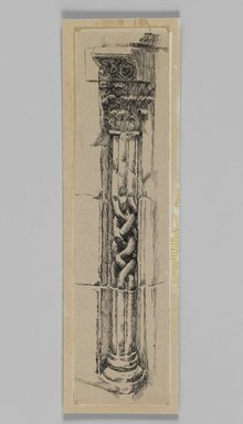 James Tissot (French, 1836-1902). Column, Jerusalem, 1886-1887 or 1889. Ink on paper mounted on board, Sheet: 9 3/8 x 2 3/8 in. (23.8 x 6 cm). Brooklyn Museum, Purchased by public subscription, 00.159.358.1