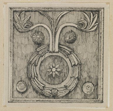 James Tissot (French, 1836-1902). Wreath in Bas-relief in the Mosque of El-Aksa (Une couronne, bas-relief, mosquée d'El Aksa), 1886-1887 or 1889. Ink on paper mounted on board, Sheet: 4 3/8 x 4 5/16 in. (11.1 x 11 cm). Brooklyn Museum, Purchased by public subscription, 00.159.358.2