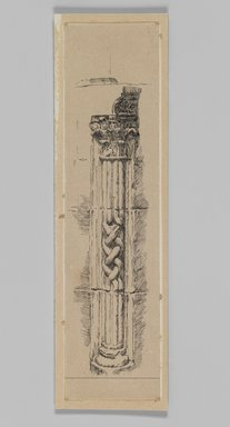 James Tissot (French, 1836-1902). Column, Jerusalem, 1886-1887 or 1889. Pen and ink on paper mounted on board, Sheet: 9 3/8 x 2 3/8 in. (23.8 x 6.1 cm). Brooklyn Museum, Purchased by public subscription, 00.159.358.3
