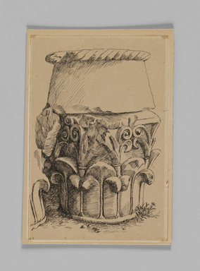 James Tissot (French, 1836-1902). Corinthian Capital from the Tomb of Queen Helen (Chapiteau corinthien, tombeau de la reine Hélène), 1886-1887 or 1889. Pen and ink on paper mounted on board, Sheet: 5 9/16 x 3 13/16 in. (14.1 x 9.7 cm). Brooklyn Museum, Purchased by public subscription, 00.159.358.4