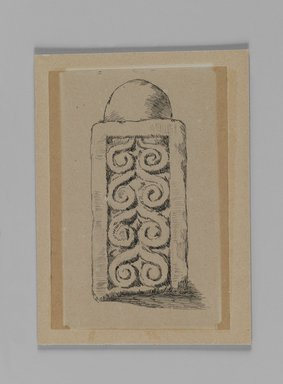James Tissot (French, 1836-1902). Pillar of Balustrade Found at Jerusalem (Pilier du balustrade, fouilles à Jérusalem), 1886-1887 or 1889. Pen and ink on paper mounted on board, Sheet: 5 x 3 7/16 in. (12.7 x 8.7 cm). Brooklyn Museum, Purchased by public subscription, 00.159.358.5