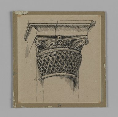 James Tissot (French, 1836-1902). Capital from the Mosque of El-Aksa (Chapiteau de la mosquée d'El Aksa), 1886-1887 or 1889. Pen and ink on paper mounted on board, Sheet: 3 1/2 x 3 5/16 in. (8.9 x 8.4 cm). Brooklyn Museum, Purchased by public subscription, 00.159.359.4
