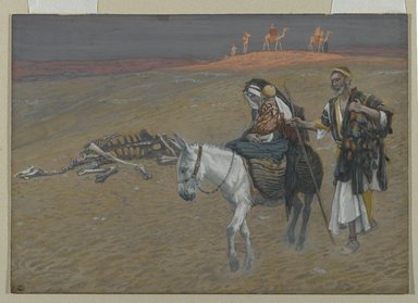 James Tissot (French, 1836-1902). The Flight into Egypt (La fuite en Égypte), 1886-1894. Opaque watercolor over graphite on gray wove paper, Image: 6 5/16 x 9 in. (16 x 22.9 cm). Brooklyn Museum, Purchased by public subscription, 00.159.35