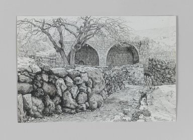 James Tissot (French, 1836-1902). Fountain of the Virgin at Ain-Karim, 1886-1887 or 1889. Pen and ink on paper, Sheet: 5 1/16 x 7 9/16 in. (12.9 x 19.2 cm). Brooklyn Museum, Purchased by public subscription, 00.159.360