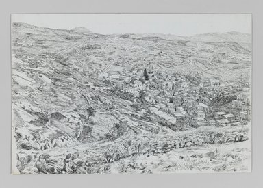 James Tissot (French, 1836-1902). View of Nazareth, 1886-1887 or 1889. Pen and ink on paper, Sheet: 7 1/16 x 10 1/2 in. (17.9 x 26.7 cm). Brooklyn Museum, Purchased by public subscription, 00.159.361