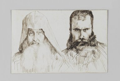 James Tissot (French, 1836-1902). Types of Armenian Men in Jerusalem, 1886-1887 or 1889. Pen and ink on paper mounted on board, Sheet: 4 11/16 x 7 1/8 in. (11.9 x 18.1 cm). Brooklyn Museum, Purchased by public subscription, 00.159.362