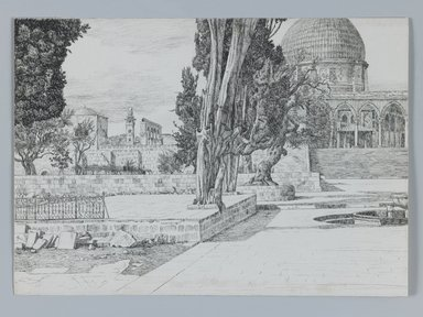 James Tissot (French, 1836-1902). Haram: Mosque of Es-Sakrah Called Mosque of Omar, Jerusalem, 1886-1887 or 1889. Pen and ink on wove paper Brooklyn Museum, Purchased by public subscription, 00.159.364