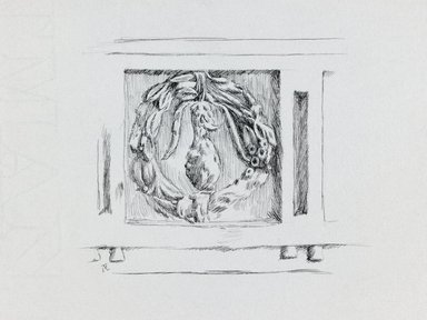 James Tissot (French, 1836-1902). Judaic Ornament, 1886-1887 or 1889. Pen and ink on paper mounted on board, Sheet: 5 9/16 x 8 3/8 in. (14.1 x 21.3 cm). Brooklyn Museum, Purchased by public subscription, 00.159.366.1