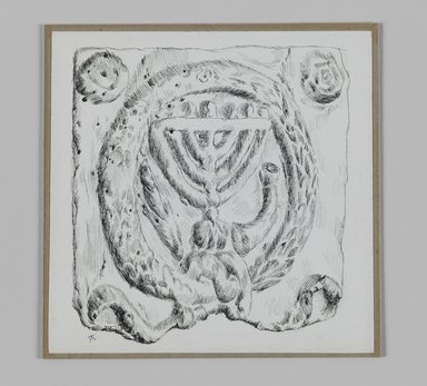 James Tissot (French, 1836-1902). Judaic Ornament (Menorah), 1886-1887 or 1889. Pen and ink on paper mounted on board, Sheet: 4 15/16 x 5 1/16 in. (12.6 x 12.8 cm). Brooklyn Museum, Purchased by public subscription, 00.159.366.4