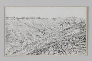 James Tissot (French, 1836-1902). Mountains near Jerusalem, 1886-1887 or 1889. Pen and ink, Sheet: 5 7/16 x 9 1/16 in. (13.8 x 23 cm). Brooklyn Museum, Purchased by public subscription, 00.159.367