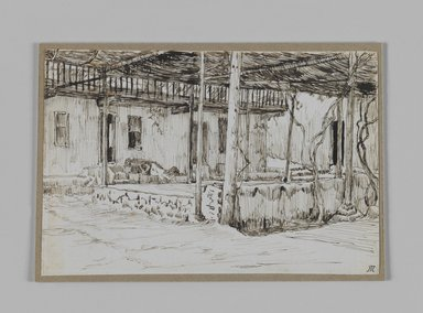 James Tissot (French, 1836-1902). In Old Cairo (Au vieux Caire), 1886-1887 or 1889. Pen and ink on paper mounted on board, Sheet: 3 9/16 x 5 5/16 in. (9.1 x 13.5 cm). Brooklyn Museum, Purchased by public subscription, 00.159.368.1