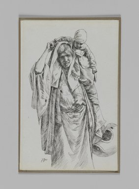 James Tissot (French, 1836-1902). A Typical Woman of Jerusalem, 1886-1887 or 1889. Pen and ink on paper mounted on board, Sheet: 7 1/8 x 4 1/4 in. (18.1 x 10.8 cm). Brooklyn Museum, Purchased by public subscription, 00.159.371