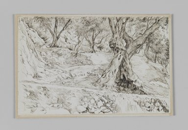James Tissot (French, 1836-1902). A Corner in the Valley of Hinnom (Un coin de la vallée de Hinon), 1886-1887 or 1889. Pen and ink on paper mounted on board, Sheet: 4 11/16 x 7 1/4 in. (11.9 x 18.4 cm). Brooklyn Museum, Purchased by public subscription, 00.159.373