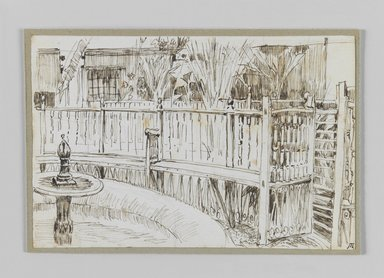 James Tissot (French, 1836-1902). Garden of the Dancing Dervishes, Cairo (Jardin des derviches tourneurs au Caire), 1886-1887 or 1889. Pen and ink on paper mounted on board, Sheet: 3 9/16 x 5 3/16 in. (9.1 x 13.1 cm). Brooklyn Museum, Purchased by public subscription, 00.159.374.1