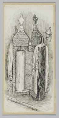 James Tissot (French, 1836-1902). Jewish Bible from the Synagogue in Jerusalem, 1886-1887 or 1889. Pen and ink on paper mounted on board, Sheet: 7 1/16 x 3 1/4 in. (17.9 x 8.3 cm). Brooklyn Museum, Purchased by public subscription, 00.159.376
