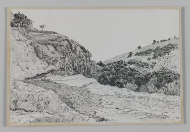 James Tissot (French, 1836-1902). Valley of Hinnom (Vallée de Hinon), 1886-1887 or 1889. Pen and ink on paper mounted on board, Sheet: 5 1/8 x 7 9/16 in. (13 x 19.2 cm). Brooklyn Museum, Purchased by public subscription, 00.159.377