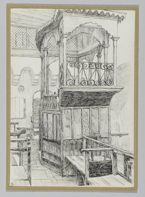 James Tissot (French, 1836-1902). Synagogue of the Maugrabians at Jerusalem, 1886-1887 or 1889. Pen and ink on paper mounted on board, Sheet: 6 1/8 x 4 1/4 in. (15.6 x 10.8 cm). Brooklyn Museum, Purchased by public subscription, 00.159.378