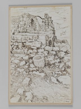 James Tissot (French, 1836-1902). Job's Well (Le Puits de Job, Bir-Ayoub), 1886-1887 or 1889. Pen and ink on paper mounted on board, Sheet: 7 5/16 x 4 11/16 in. (18.6 x 11.9 cm). Brooklyn Museum, Purchased by public subscription, 00.159.379