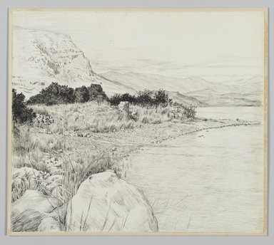 James Tissot (French, 1836-1902). Sea of Tiberias, 1886-1887 or 1889. Pen and ink on paper mounted on board, Sheet: 7 3/8 x 8 7/16 in. (18.7 x 21.4 cm). Brooklyn Museum, Purchased by public subscription, 00.159.380
