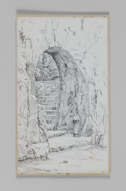 James Tissot (French, 1836-1902). The Entrance to the Tomb of the Prophets, 1886-1887 or 1889. Pen and ink on paper mounted on board, Sheet: 8 5/16 x 4 13/16 in. (21.1 x 12.2 cm). Brooklyn Museum, Purchased by public subscription, 00.159.383