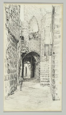 James Tissot (French, 1836-1902). A Street in Jaffa, 1886-1887 or 1889. Pen and ink on paper mounted on board, Sheet: 8 1/4 x 4 1/2 in. (21 x 11.4 cm). Brooklyn Museum, Purchased by public subscription, 00.159.384