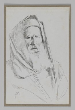 James Tissot (French, 1836-1902). Type of Jew, Jerusalem, 1886-1887 or 1889. Pen and ink, Sheet: 7 3/16 x 4 5/8 in. (18.3 x 11.7 cm). Brooklyn Museum, Purchased by public subscription, 00.159.386