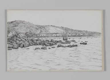 James Tissot (French, 1836-1902). The Lake of Gennesaret near the Site of Bethsaida, 1886-1887 or 1889. Pen and ink on paper mounted on board, Sheet: 4 15/16 x 7 11/16 in. (12.5 x 19.5 cm). Brooklyn Museum, Purchased by public subscription, 00.159.388
