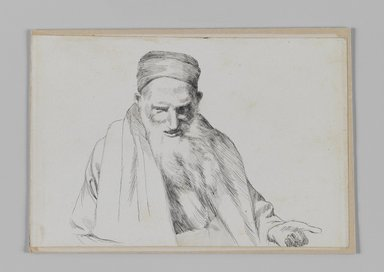 James Tissot (French, 1836-1902). Type of Jew, Jerusalem, 1886-1887 or 1889. Pen and ink on paper mounted on board, Sheet: 4 3/4 x 7 1/16 in. (12.1 x 17.9 cm). Brooklyn Museum, Purchased by public subscription, 00.159.389