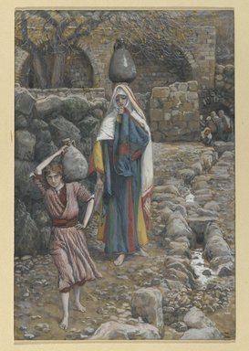 James Tissot (French, 1836-1902). Jesus and his Mother at the Fountain (Jésus et sa mère à la fontaine), 1886-1894. Opaque watercolor over graphite on gray wove paper, Image: 8 1/4 x 5 9/16 in. (21 x 14.1 cm). Brooklyn Museum, Purchased by public subscription, 00.159.38