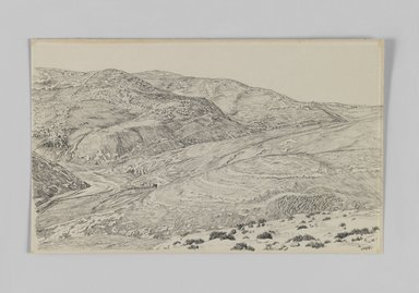 James Tissot (French, 1836-1902). Valley of the Kedron, 1886-1887 or 1889. Pen and ink on paper, Sheet: 5 7/16 x 8 7/8 in. (13.8 x 22.5 cm). Brooklyn Museum, Purchased by public subscription, 00.159.393