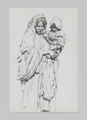 James Tissot (French, 1836-1902). Woman and Child of Jericho, 1886-1887 or 1889. Pen and ink on paper mounted on board, Sheet: 7 1/16 x 4 11/16 in. (17.9 x 11.9 cm). Brooklyn Museum, Purchased by public subscription, 00.159.394