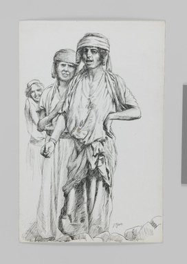 James Tissot (French, 1836-1902). Women of Geba, Samaria (Femmes de Geba; Samarie), 1886-1887 or 1889. Pen and ink on paper mounted on board, Sheet: 7 3/16 x 4 11/16 in. (18.3 x 11.9 cm). Brooklyn Museum, Purchased by public subscription, 00.159.395