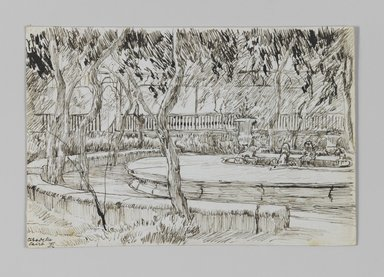 James Tissot (French, 1836-1902). Garden of the Citadel, Caire (Jardin de la citadelle, Caire), 1886-1887 or 1889. Pen and ink on paper mounted on board, Sheet: 3 9/16 x 5 5/16 in. (9 x 13.5 cm). Brooklyn Museum, Purchased by public subscription, 00.159.396