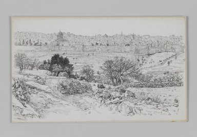 James Tissot (French, 1836-1902). Jerusalem Seen from the Mount of Olives, 1886-1887 or 1889. Pen and ink on paper mounted on board, Sheet: 5 3/4 x 9 5/8 in. (14.6 x 24.4 cm). Brooklyn Museum, Purchased by public subscription, 00.159.398