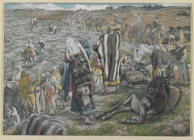 James Tissot (French, 1836-1902). On Return from Jerusalem, It is Noticed that Jesus is Lost (Au retour de Jérusalem on s'aperçoit que Jésus est perdu), 1886-1894. Opaque watercolor over graphite on gray wove paper, Image: 5 13/16 x 8 3/16 in. (14.8 x 20.8 cm). Brooklyn Museum, Purchased by public subscription, 00.159.39