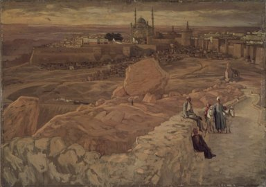 James Tissot (French, 1836-1902). The Citadel at Cairo Seen from the Mokattam (La citadelle du Caire. Prise du Mokatam.), 1886-1894. Oil on composition board, 14 7/16 x 20 5/16 in.  (36.7 x 51.1 cm). Brooklyn Museum, Purchased by public subscription, 00.159.4