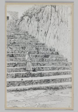 James Tissot (French, 1836-1902). Steps Leading to the Tombs of the Prophets, 1886-1887 or 1889. Pen and ink on paper mounted on board, Sheet: 8 3/8 x 5 1/2 in. (21.3 x 14 cm). Brooklyn Museum, Purchased by public subscription, 00.159.401