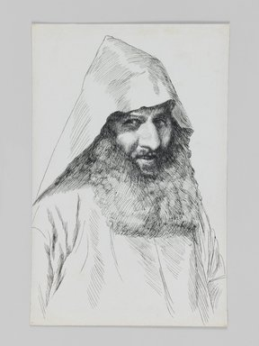 James Tissot (French, 1836-1902). An Armenian, 1886-1887 or 1889. Pen and ink, Sheet: 7 1/8 x 4 11/16 in. (18.1 x 11.9 cm). Brooklyn Museum, Purchased by public subscription, 00.159.402