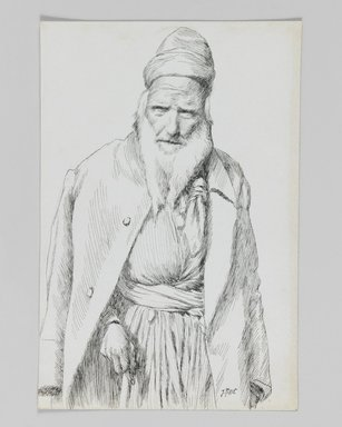 James Tissot (French, 1836-1902). Type of Jew, 1886-1887 or 1889. Pen and ink on paper mounted on board, Sheet: 7 x 4 5/8 in. (17.8 x 11.7 cm). Brooklyn Museum, Purchased by public subscription, 00.159.403.2