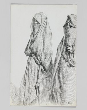 James Tissot (French, 1836-1902). A Road on the Mount of Olives, 1886-1887 or 1889. Pen and ink on paper mounted on board, Sheet: 7 1/8 x 4 5/8 in. (18.1 x 11.7 cm). Brooklyn Museum, Purchased by public subscription, 00.159.406