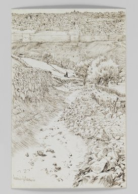 James Tissot (French, 1836-1902). Road Leading from Gethsemane to the Mount of the Ascension (Chemin allant de Getsemani au mont de l'Ascension), 1886-1887 or 1889. Pen and ink, Sheet: 7 1/4 x 4 11/16 in. (18.4 x 11.9 cm). Brooklyn Museum, Purchased by public subscription, 00.159.408