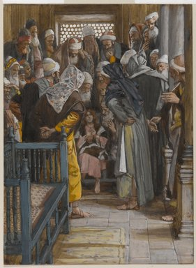James Tissot (French, 1836-1902). Jesus Among the Doctors (Jésus parmi les docteurs), 1886-1894. Opaque watercolor over graphite on gray wove paper, Image: 8 15/16 x 6 9/16 in. (22.7 x 16.7 cm). Brooklyn Museum, Purchased by public subscription, 00.159.40