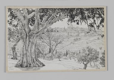 James Tissot (French, 1836-1902). Half Way Up the Mount of Olives (A mi-côté du mont des Oliviers), 1886-1887 or 1889. Pen and ink on paper mounted on board, Sheet: 4 11/16 x 7 3/16 in. (11.9 x 18.3 cm). Brooklyn Museum, Purchased by public subscription, 00.159.410
