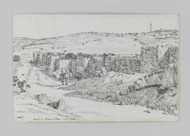 James Tissot (French, 1836-1902). Walls of Jerusalem, North Side, 1886-1887 or 1889. Pen and ink on paper mounted on board, Sheet: 4 11/16 x 7 1/4 in. (11.9 x 18.4 cm). Brooklyn Museum, Purchased by public subscription, 00.159.412
