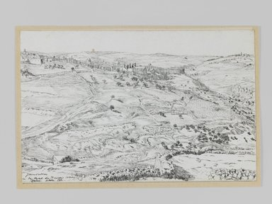 James Tissot (French, 1836-1902). Jerusalem Taken from the Mount of Evil Counsel (Jérusalem, vue prise du mont du Mauvais-Conseil), 1886-1887 or 1889. Pen and ink, Sheet: 4 3/4 x 7 1/4 in. (12.1 x 18.4 cm). Brooklyn Museum, Purchased by public subscription, 00.159.414